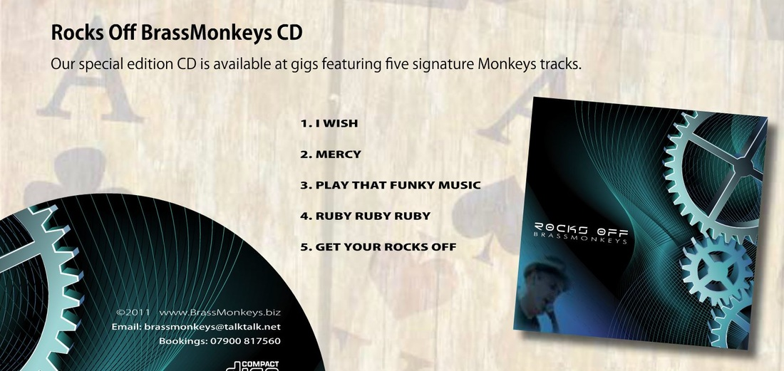 BrassMonkeys CD available at gigs